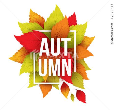 465x450 Autumn Typographic. Fall Leaf. Vector Illustration