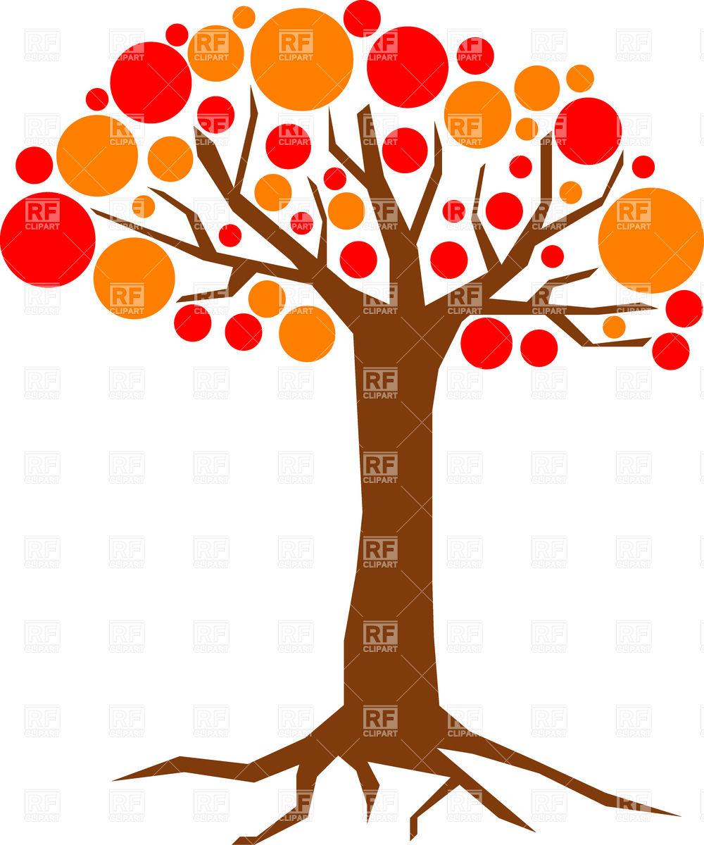1000x1200 Cartoon Red And Orange Tree