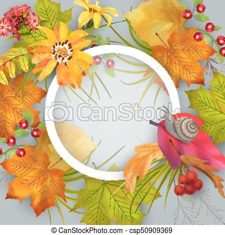 450x470 Vector Autumn Card. Artistic Creative Autumn Card. Fall Vector