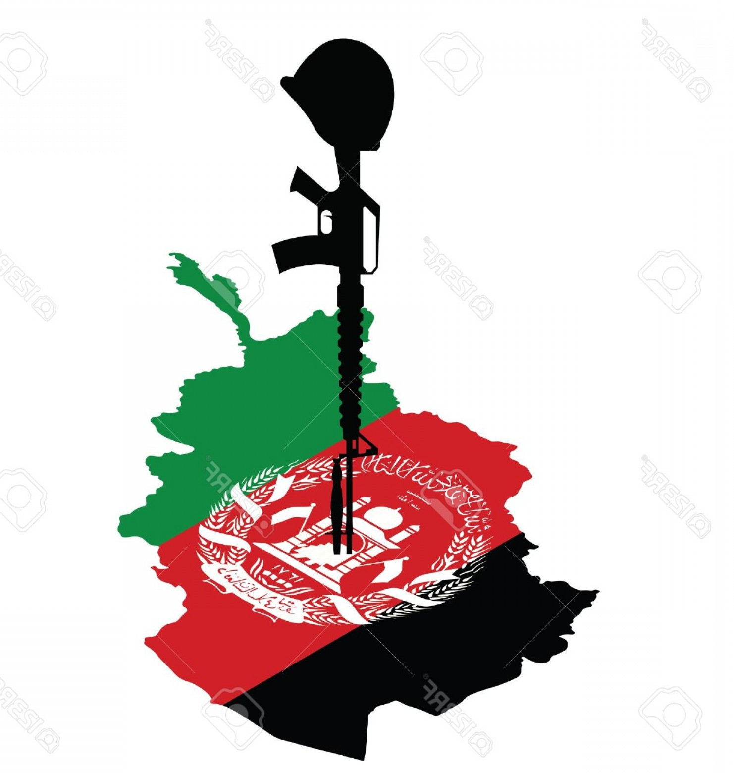 1482x1560 Photoisometric Map Of Afghanistan And Rifle Of Fallen Soldier