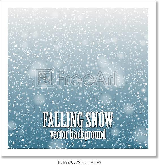 561x581 Free Art Print Of Falling Snow. Falling Snow On The Blue