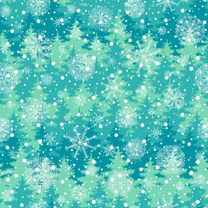 700x700 Winter Holiday Seamless Pattern With Trees, Snowflakes. Vector