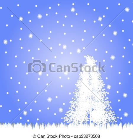 450x470 Winter Landscape With Falling Snow. Vector Illustration. Vector