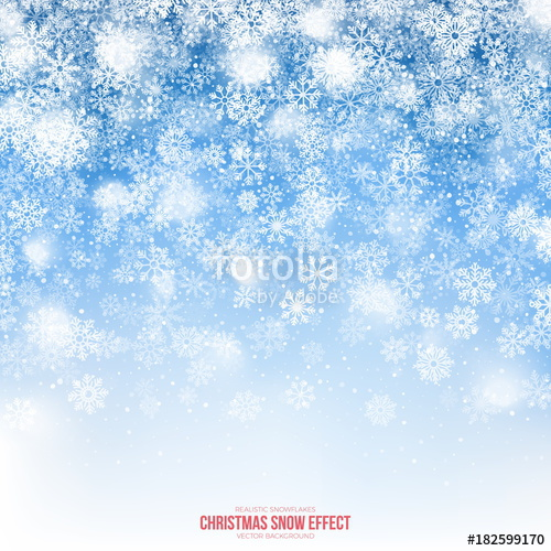 500x500 Christmas Snow Vector Effect With Realistic Falling Snowflakes And