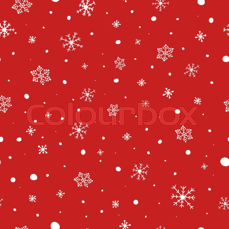 800x800 Christmas Seamless Pattern. White Snowflakes On Red Background