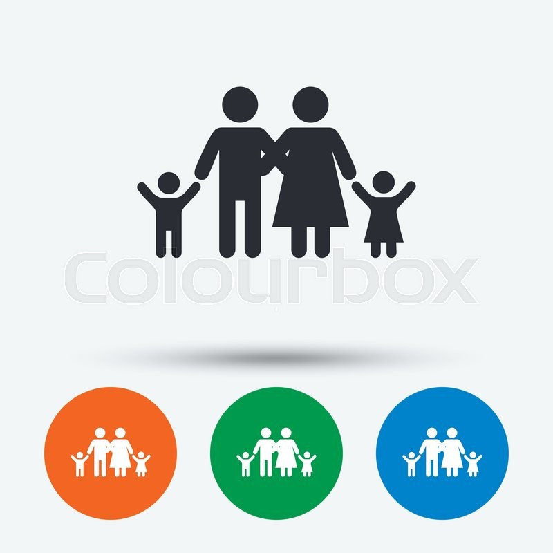 800x800 Family Icon. Parents With Children Symbol. Family Insurance. Round