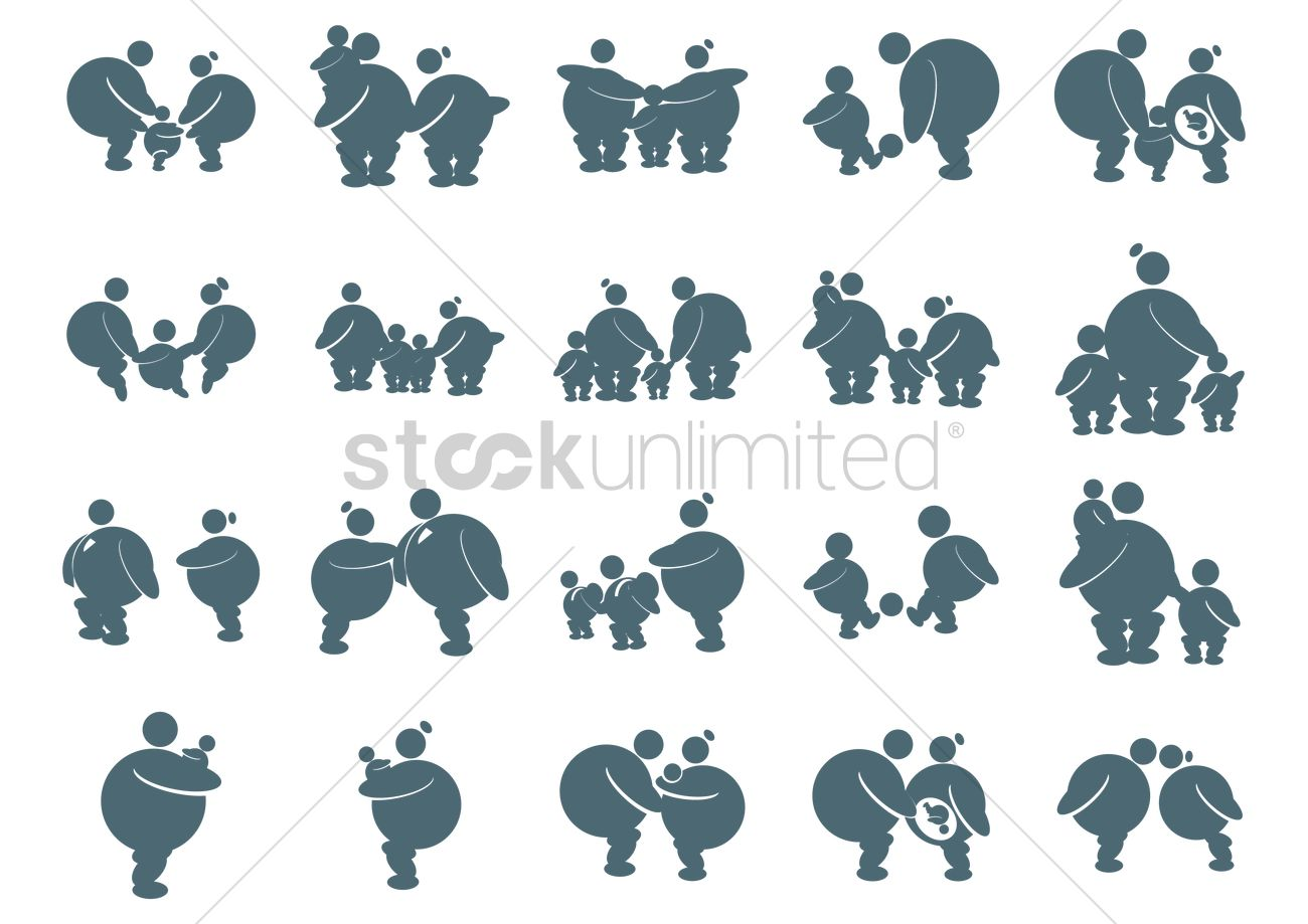 1300x919 Fat Family Icons Vector Image