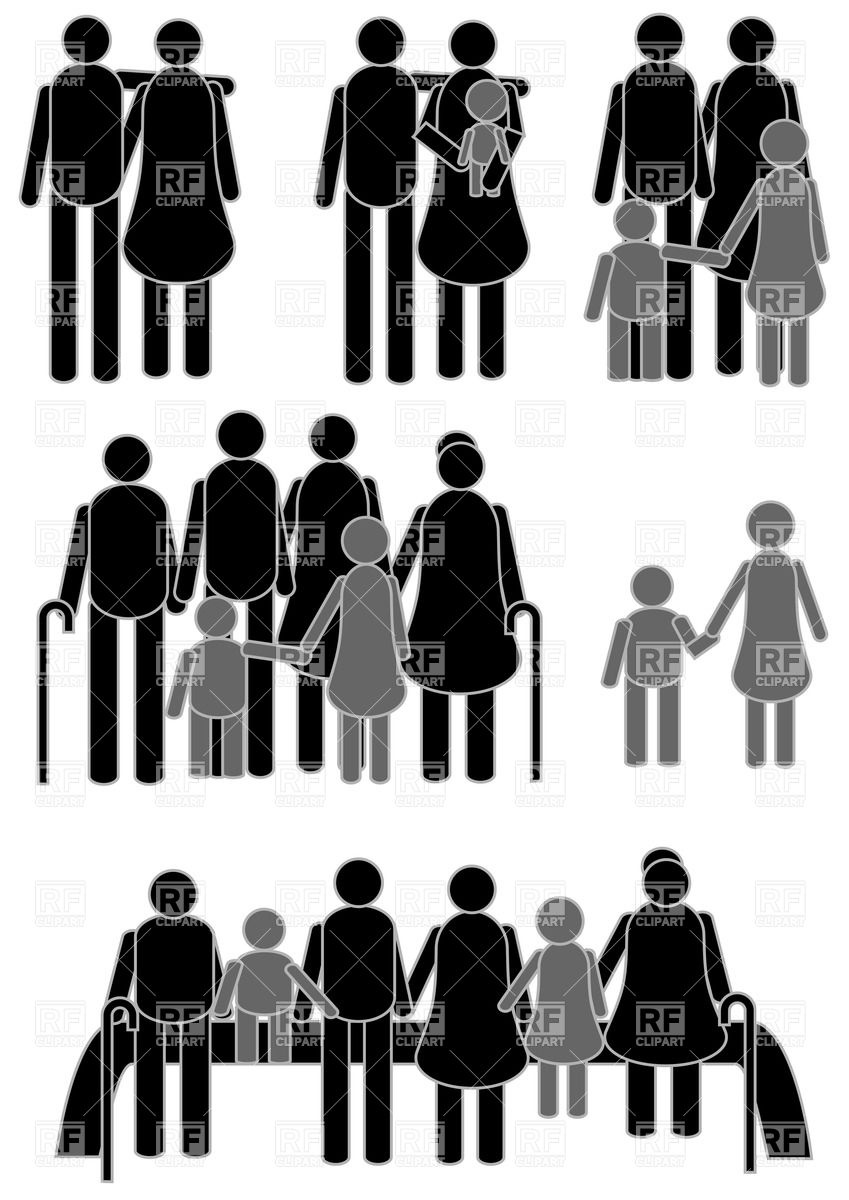 849x1200 Happy Family Icons Isolated On White Background Vector Image