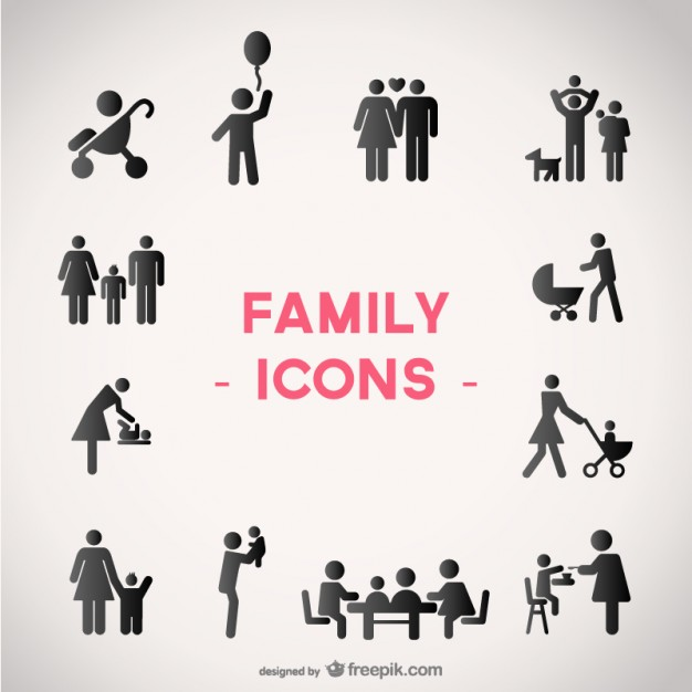 626x626 Black Family Icons Vector Free Download