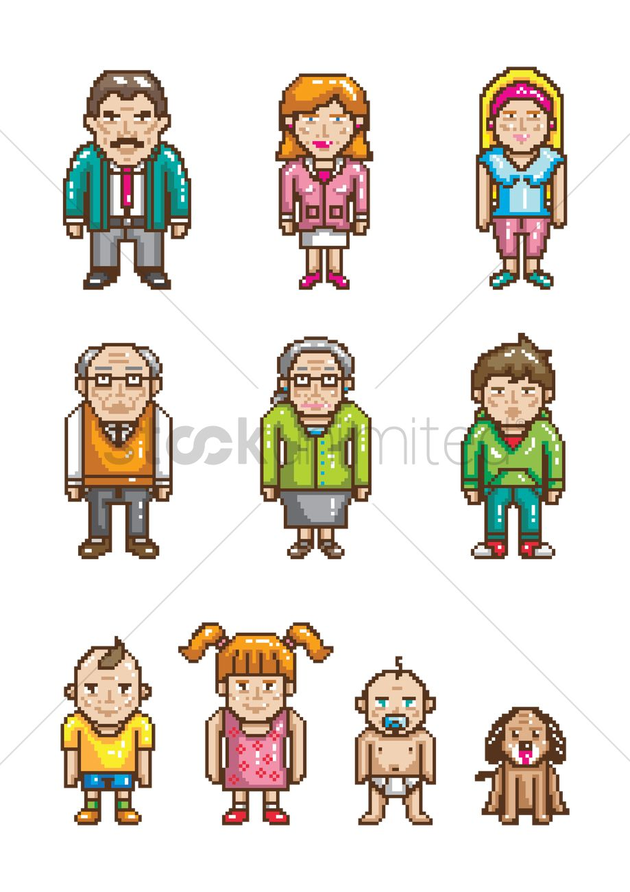 919x1300 Set Of Pixel Art Family Icons Vector Image