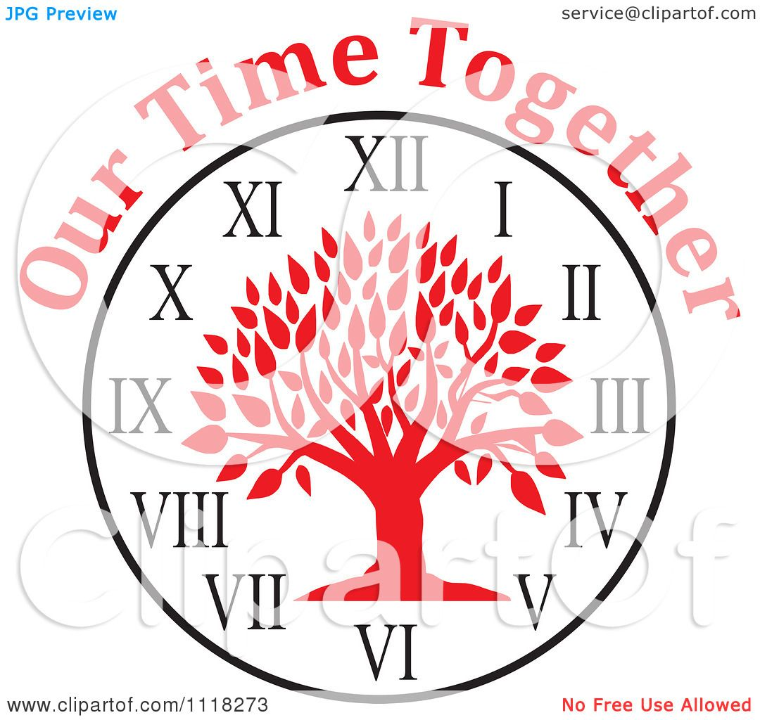 1080x1024 Cartoon Of A Red Family Reunion Tree Clock With Our Time Together