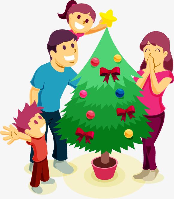 581x663 A Four Christmas, Christmas Tree Decoration, Family Portrait