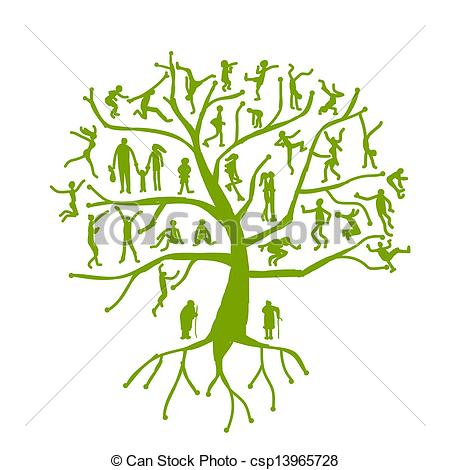 450x470 Family Tree, Relatives, People Silhouettes Vector Illustration