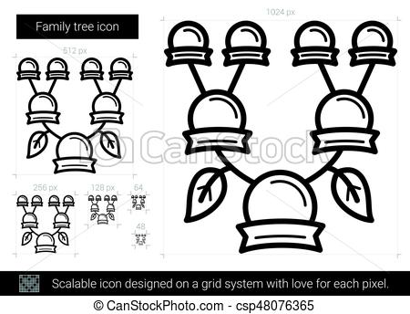 450x344 Family Tree Line Icon. Family Tree Vector Line Icon Isolated On