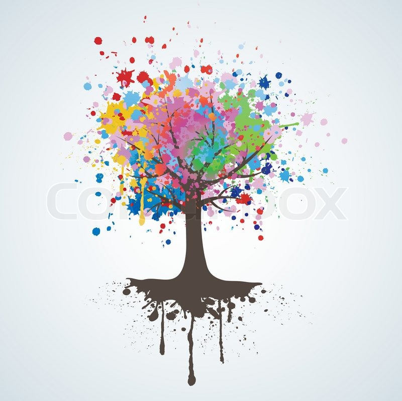 800x799 Abstract Colorful Tree. Vector Background. Stock Vector Colourbox