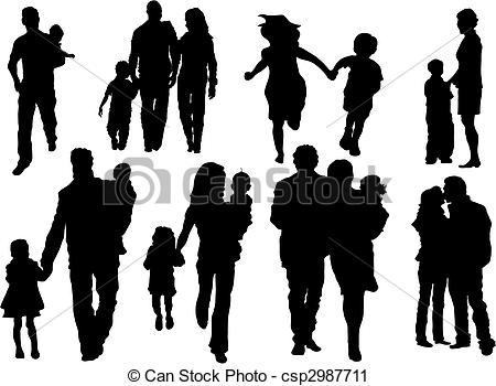 450x350 Happy Family. Vector Set Of Happy Family Silhouettes .