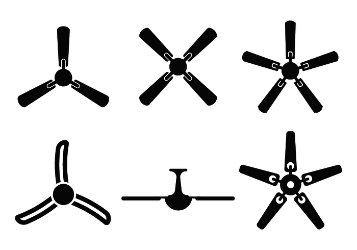 700x490 Ceiling Fan Silhouette Vector From Bottom View