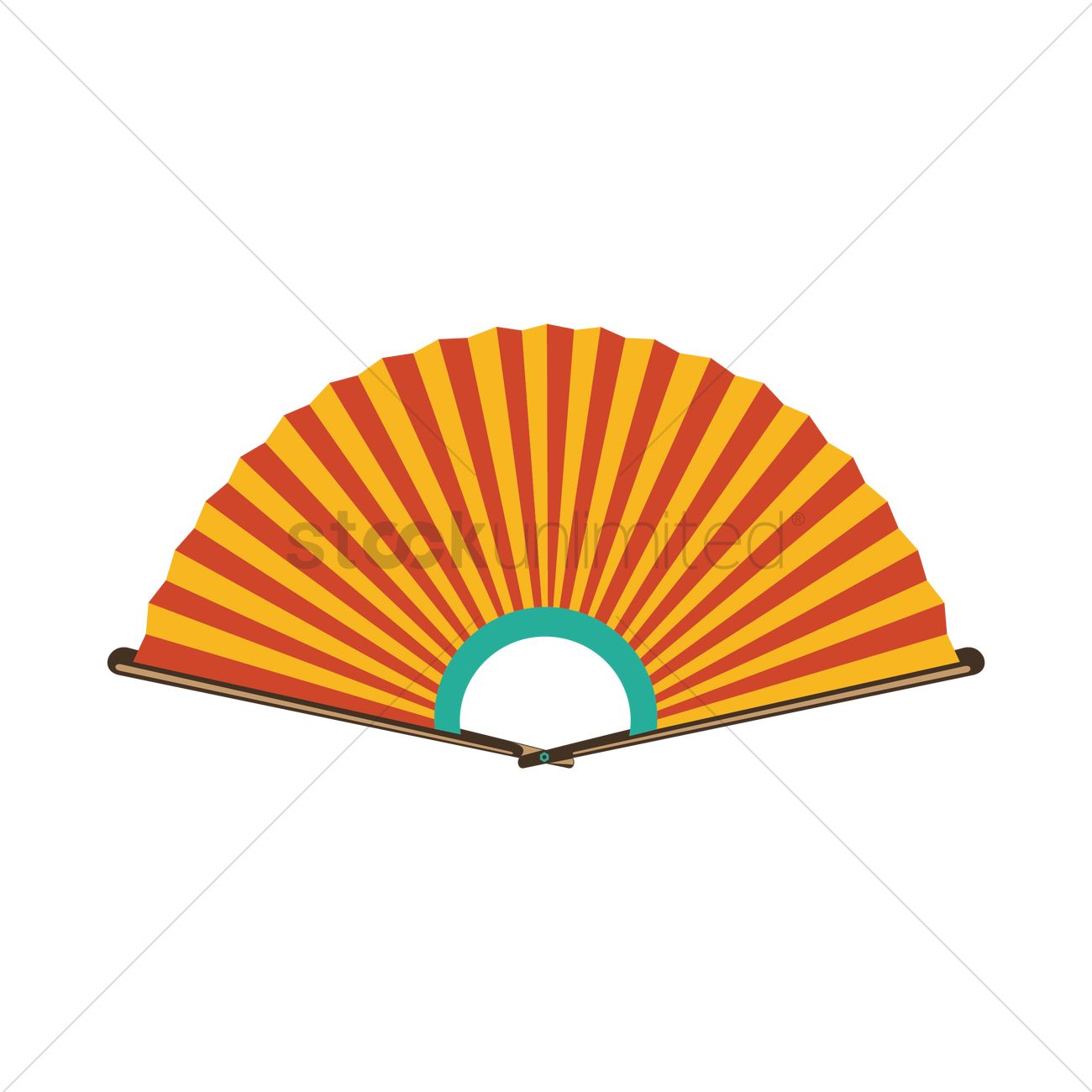 1300x1300 Korean Traditional Paper Fan Vector Image