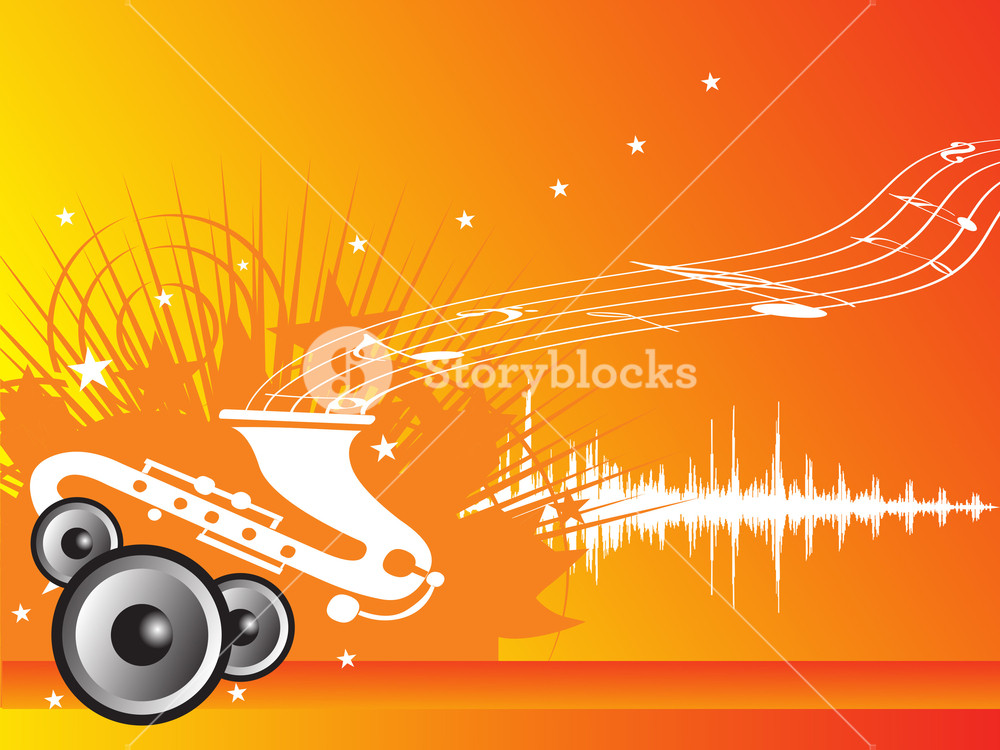 1000x750 Music Fan Vector Illustration With Orange Background Royalty Free