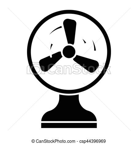 450x470 Simple Flat Black Electric Fan Icon Vector.