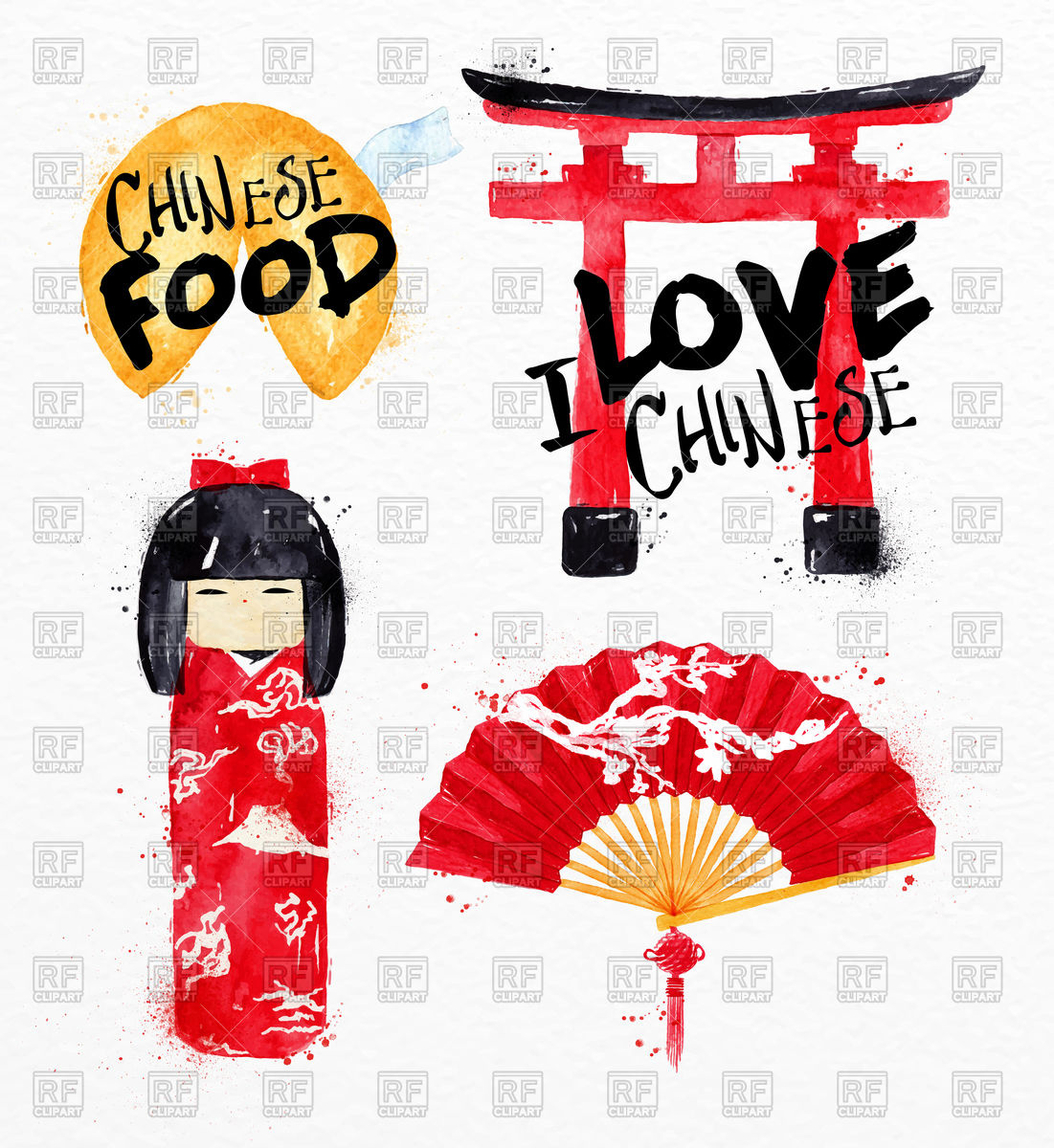1101x1200 Chinese Symbols Fortune Cookies, Kokeshi Doll, Gate, Chinese Fan