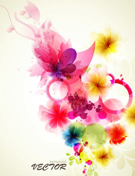 438x570 Fancy Abstract Floral Colorful Fluorescent Background