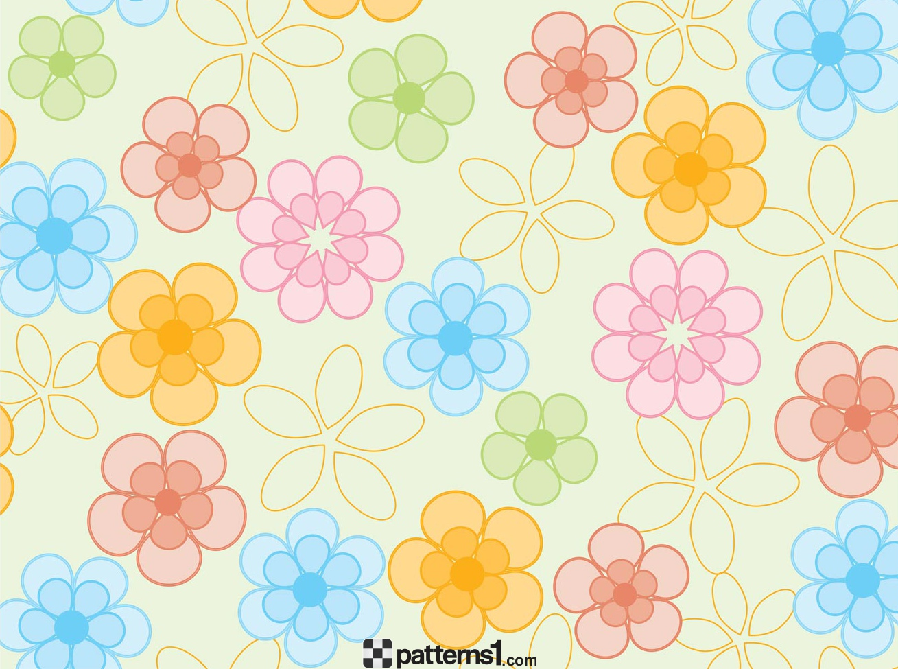 1309x975 Fancy Spring Colored Flowers Background Vector Pattern Design By