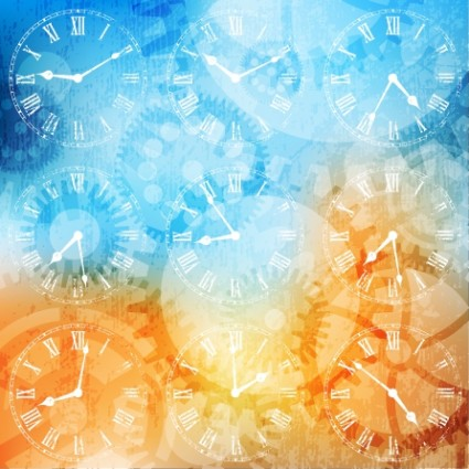 425x425 Fancy Silhouette Background Vector Clock Hands Vector Free