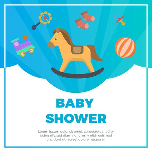 490x490 Flat Baby Shower Elements With Fancy Background Vector