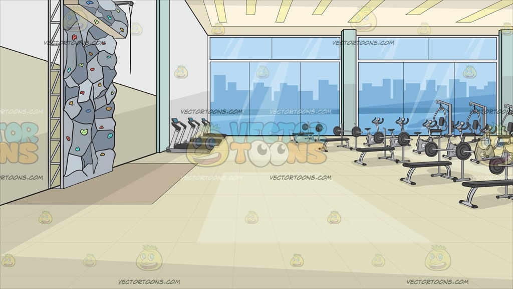 1024x576 Inside A Fancy Gym With Rock Climbing Wall Background Clipart By
