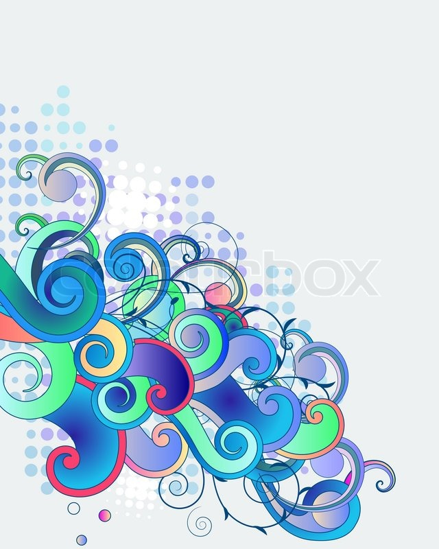 640x800 Blue Abstract Fancy Branches On Light Background Stock Vector