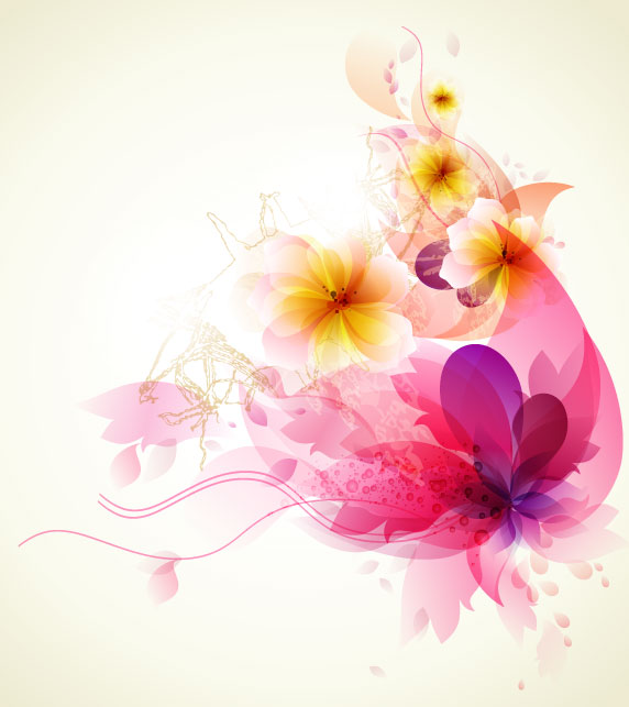 572x643 Brilliant Floral Colorful Background Vector 04 Free Download