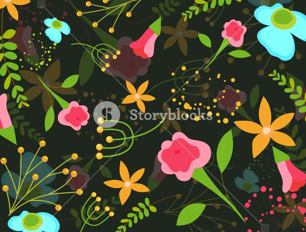 1000x758 Decorative Fancy Flowers Background Vector Illustration Royalty