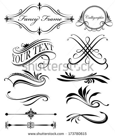 395x470 Fancy Vector Borders Fancy Lines Borders Stock Vector 173780615