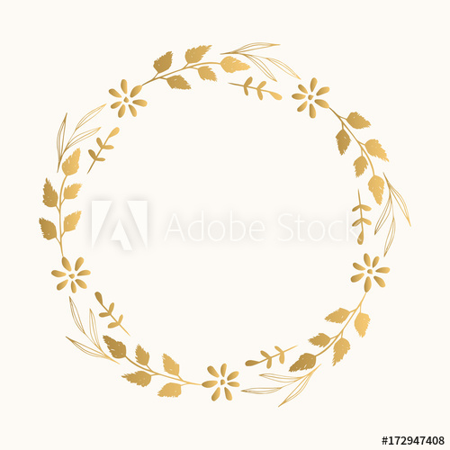 500x500 Gold Floral Fancy Frame. Vector. Isolated.