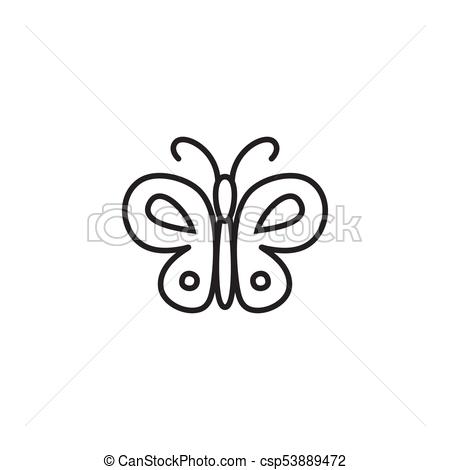 450x470 Butterfly Outline Vector Icon. Butterfly Icon. Abstract Modern