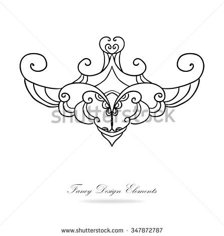 446x470 Design Elements Vector. Black And White Victorian Design With