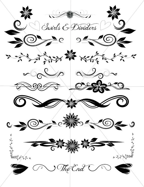 570x738 Divider Lines, Fancy Swirls And Ornamental Borders, Scalabe Vector
