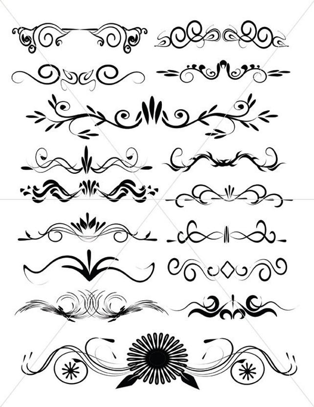 642x831 Scalabe Vector Graphics Divider Lines Fancy Swirls And Etsy