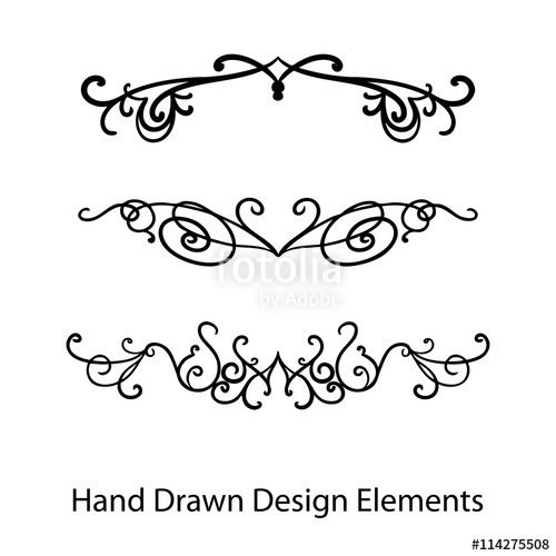 500x500 Abstract Vector Design Elements, Set Of Hand Drawn Fancy Curls And