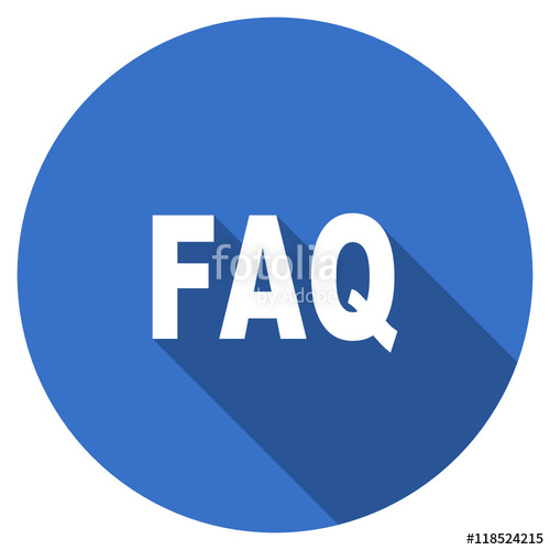 500x500 Flat Design Blue Round Web Faq Vector Icon Stock Image And