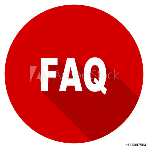 500x500 Flat Design Red Round Faq Vector Icon