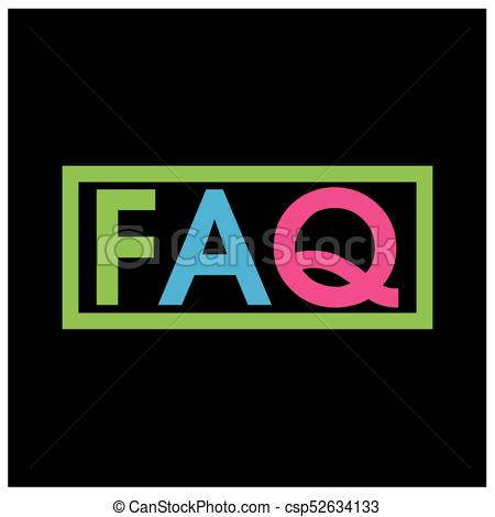 450x470 Colorful Vector Letters Icon. Word Faq Vector.