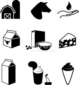 277x300 Dairy Farm And Products Black Amp White Vector Icon Set Stock