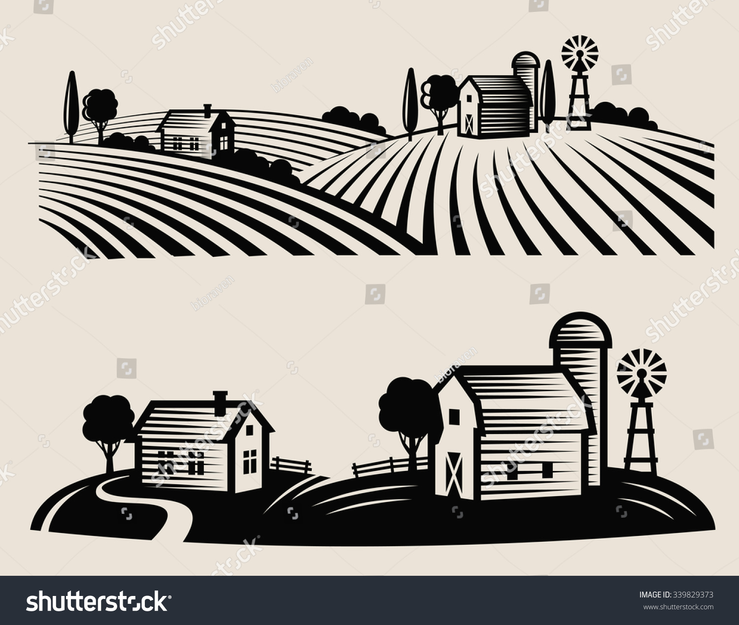 Farm Vector Black And White at GetDrawings | Free download
