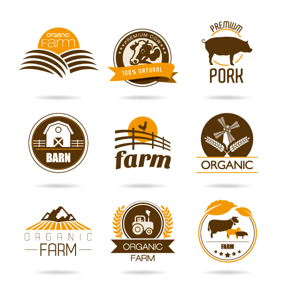 568x568 Farm Logo Cattle With View Mountain Design Vector Stock Complete