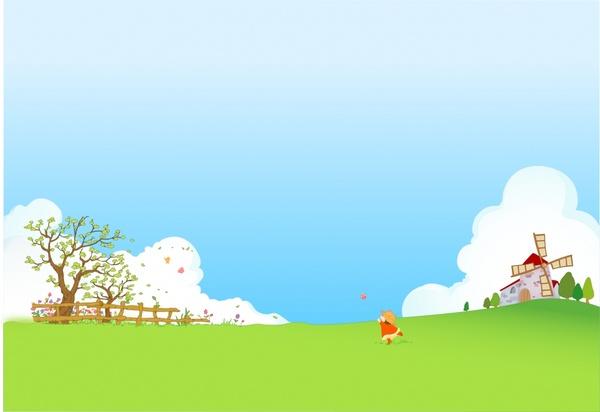 600x412 Childhood Background Playful Kid Farmland Icons Cartoon Design