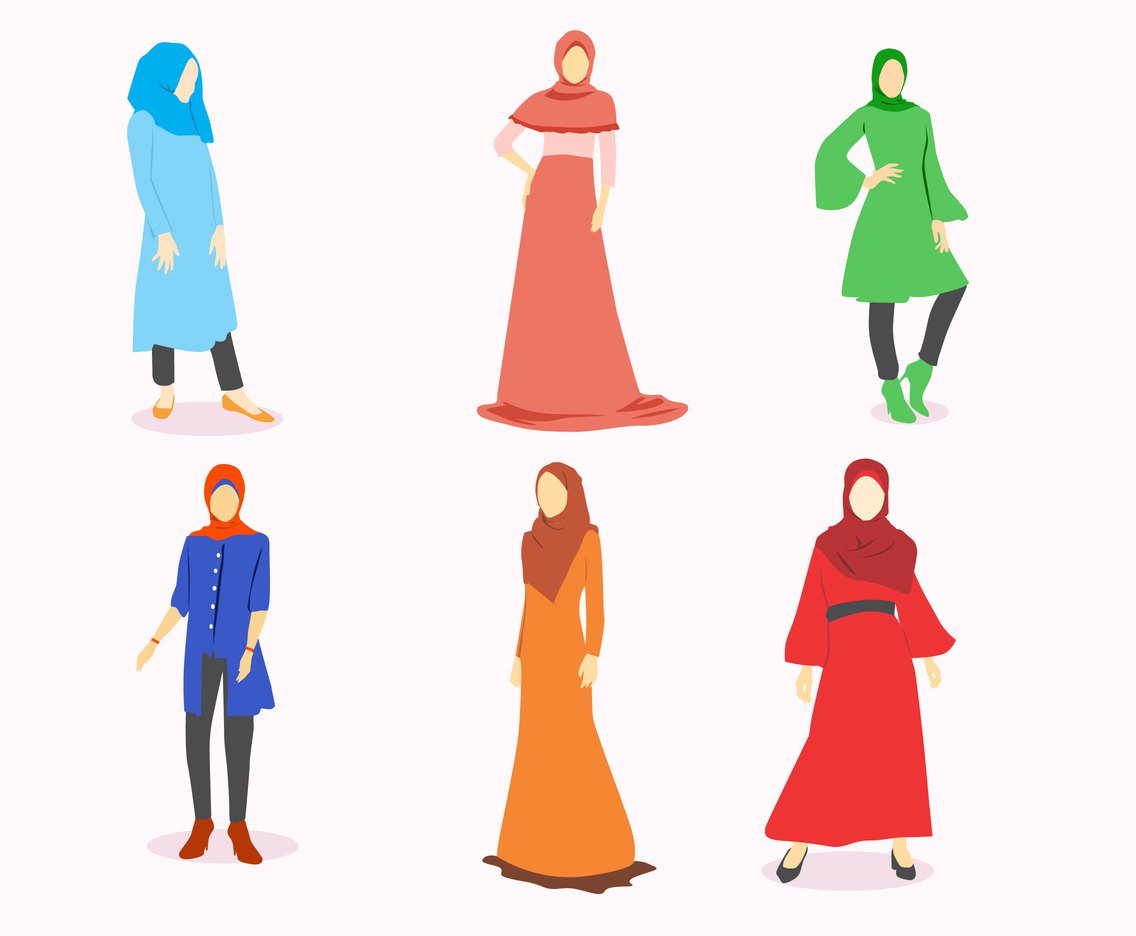 1136x936 Hijab Fashion Vector Vector Art Amp Graphics