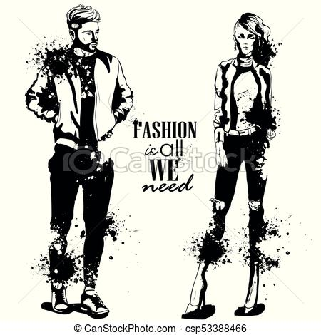 450x470 Vector Woman And Man Fashion Models, Spring Look, Splash Stile