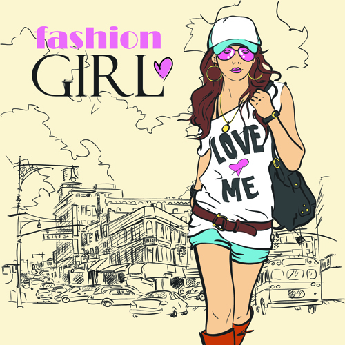 500x500 Set Of Different Fashion Girl Vector 03 Free Vector Downloads